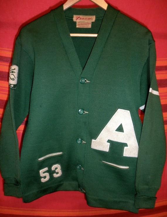 1940's Green Letterman Cardigan Sweater with Large A and Bulldog Emblem - Incredible Condition