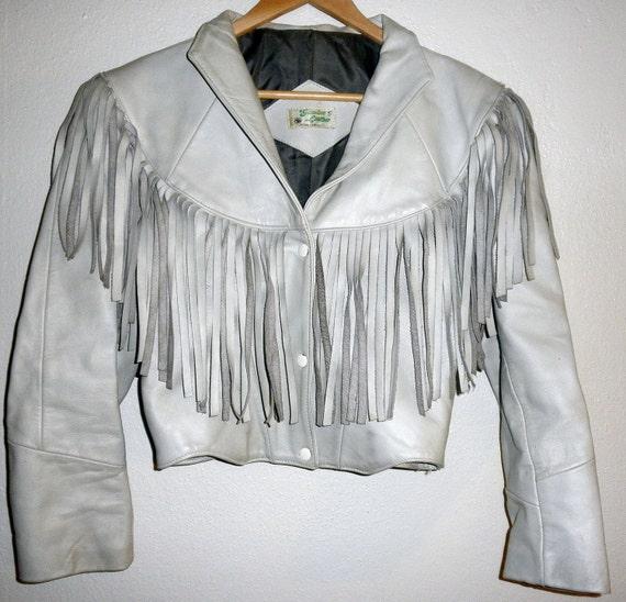 Cropped Leather Jacket With Fringe Eggshell White