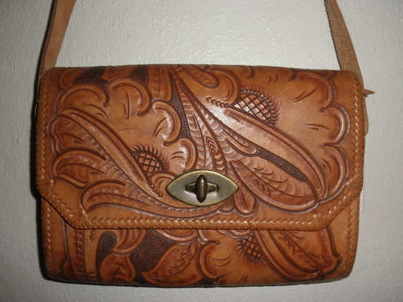 Bohemian Debutant Hand Tooled Floral Design Leather Purse with Adjustable Strap