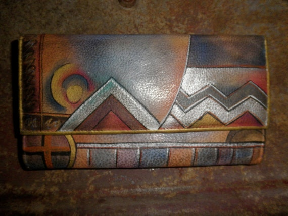 Anuschka Hanging Organizer Checkbook Clutch - Abstract Bohemian Design - Complete and in Excellent Condition