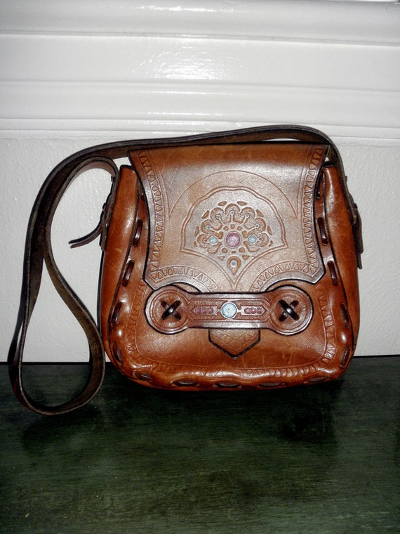 Bohemian Chic Hippie Glam Hand Tooled Leather Purse with Shoulder Strap