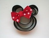 Mouse with a Red Bow Hair Clip, Toddler Hair Clip, Minnie Mouse Hair Clip, Girls Minnie Hair Clip, Minnie Mouse Party Favor, Bows for Girls