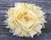 Yellow Flower Hair Clip, Light Yellow Hair Bow, Pale Yellow Shabby Flower Hair Clip, Shabby Flower Hair Bow, Shabby Chic Hair Accessories