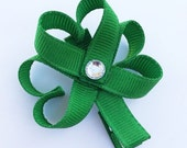 Shamrock Hair Clip, St. Patty's Day Hair Clip, Shamrock Ribbon Hair Clip, St. Patrick's Day Hair Clip, Shamrock Hair Bow, Toddler Hair Clip