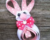Easter Bunny Hair Clip, Pink and White Bunny Ribbon Sculpture Hair Clip, Toddler Hair Clip, Easter Basket Stuffer, FREE SHIPPING PROMO