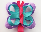 Butterfly Hair Clip, Butterfly Hair Bow, Girls Butterfly Ribbon Hair Clip, Hot Pink, Lavender, and Aqua Butterfly Hair Clip, Summer Hair Bow