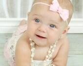 Light Pink Bow Headband, Baby Pink Bow Headband, Baby Headband, Infant Headband, Newborn Headband, Photo Prop, Pink Bow Headband, Hair Bows