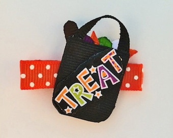 Trick or Treat Hair Clip, Halloween Hair Clip, Ribbon Sculpture Hair Clips, Toddler Hair Clip, Girls Halloween Candy Hair Clip, Girls Bows