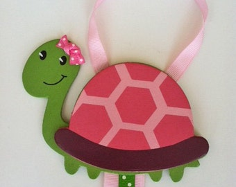 Turtle Hair Bow Holder, Pink and Green Turtle Hair Clip Organizer, Hair Bow Organizer, Little Girls Hair Clip Holder, Girls Hair Bows