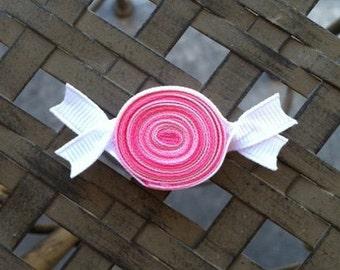 Pink Candy Hair Clip, Ribbon Candy Hair Clip, Pink and White Candy Hair Clip, Party Favors, Candy Shoppe Hair Accessory, Toddler Hair Clip