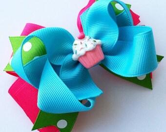 Birthday Girl Hair Bow, Cupcake Hair Bow, Birthday Cupcake Hair Bow, Girls Birthday Hair Clip, Layered Hair Bow, Girls Hair Accessories