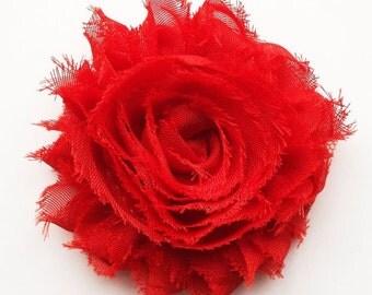 Red Flower Hair Clip, Red Shabby Flower Hair Clip, Toddler Hair Clip, Shabby Chic Hair Accessories, Red Hair Bow, Baby Hair Bows