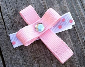 Cross Hair Clip, Toddler Hair Bow, Pink Cross Ribbon Hair Clip, Easter Hair Clip, Church Hair Clip, Pink and White Cross Hair Bow