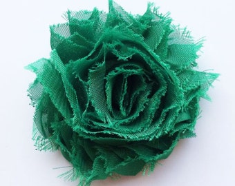 Emerald Green Shabby Chic Chiffon Flower Hair Clip, Shabby Flower Bow, Green Shabby Flower Bow, Toddler Hair Clip, Girls Hair Accessories