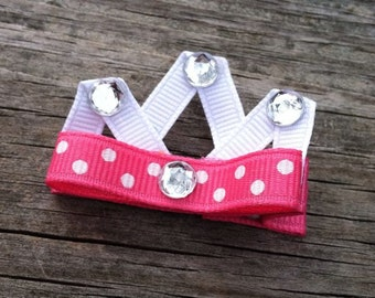 Pink Princess Crown Hair Clip, Princess Crown Ribbon Sculpture Hair Clip, Crown Hair Clip, Toddler Hair Clip, Girls Bows, FREE SHIP PROMO