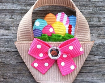 Easter Hair Clip, Easter Basket with Eggs Hair Clip, Spring Hair Clip, Easter Basket with Colorful Eggs Hair Bow, Toddler Hair Clip