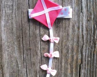 Kite Hair Clip, Pink and White Kite Ribbon Hair Clip, Toddler Hair Clip, Spring Hair Clip, Girls Hair Bows, Free Shipping Promo