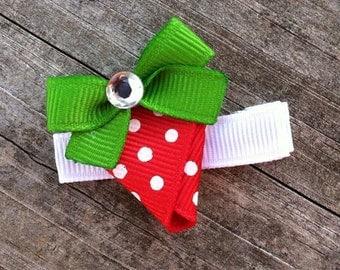 Strawberry Hair Clip, Red Strawberry Hair Clip, Toddler Hair Clip, Strawberry Ribbon Sculpture Hair Clip, FREE SHIPPING PROMO