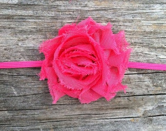 Hot Pink Flower Headband, Hot Pink Shabby Flower Headband, Baby Headband, Newborn Headband, Infant Headband, Bright Pink Flower Headband