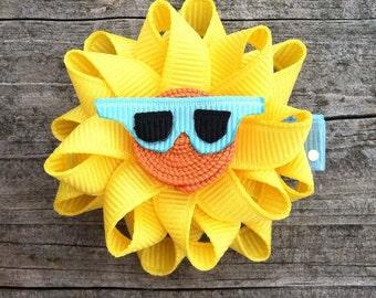 Sun Hair Clip, Sunshine Hair Clip, Summer Hair Clip, Toddler Hair Clip, Yellow Sun Hair Clip, Girls Yellow Sun Hair Clip, Girls Hair Bows
