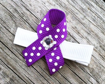Relay for Life Hair Clip, Purple and White Ribbon Hair Clip, Cancer Awareness Ribbon Hair Clips, Girls Hair Bows, Girls Hair Accessories