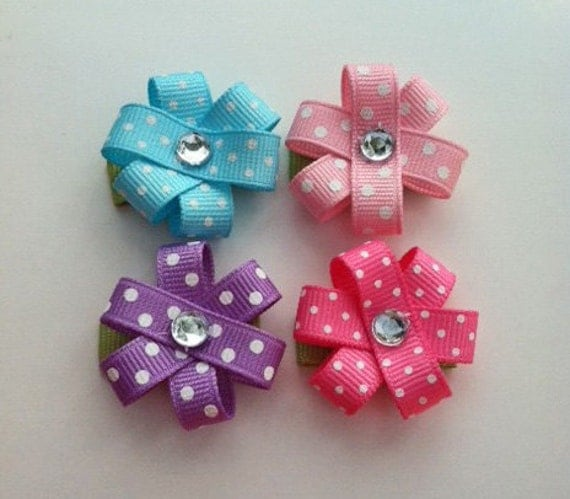 Baby Girl Hair Clips, Flower Hair Clips, Pink, Purple, and Aqua Flower Hair Clip Set, Baby Girl Bows, Snap Clip Bows, Girls Hair Bows