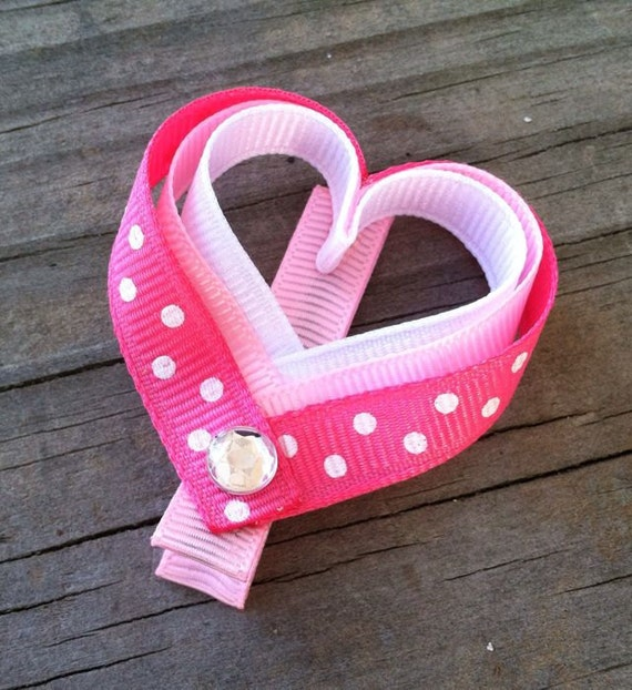 Heart Hair Clip, Pink and White Polka Dotted Heart Hair Clip, Pink Heart Hair Clip, Toddler Hair Clip, Valentine's Day Hair Bows, Hair Bows
