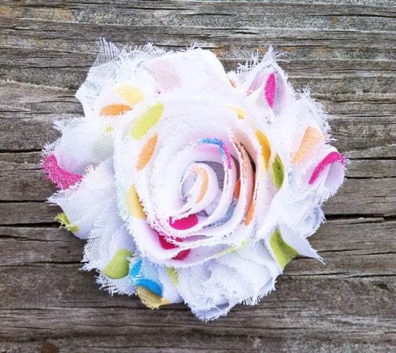 Polka Dot Shabby Flower Hair Clip, Frayed Flower Hair Clip, Toddler Hair Clip, Baby Hair Clip, Colorful Polka Dot Hair Clip, Free Shipping