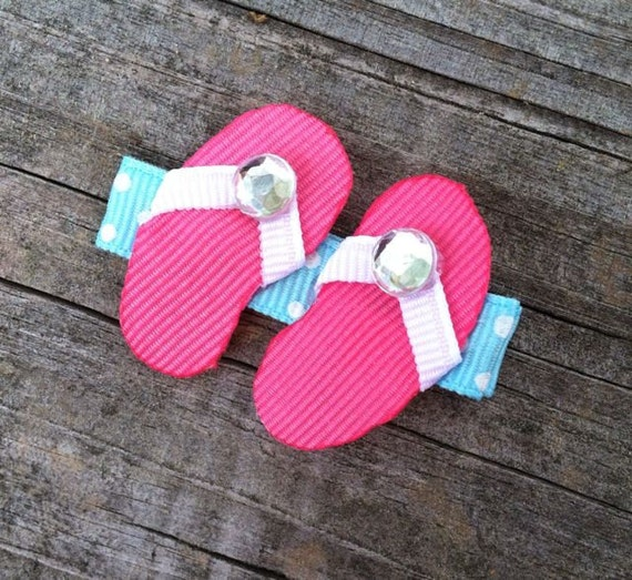Flip Flops Hair Clip, Summer Hair Bows, Hot Pink Flip Flops Ribbon Hair Clip, Beach Hair Clip, Pool Party Favor, Toddler Hair Clip