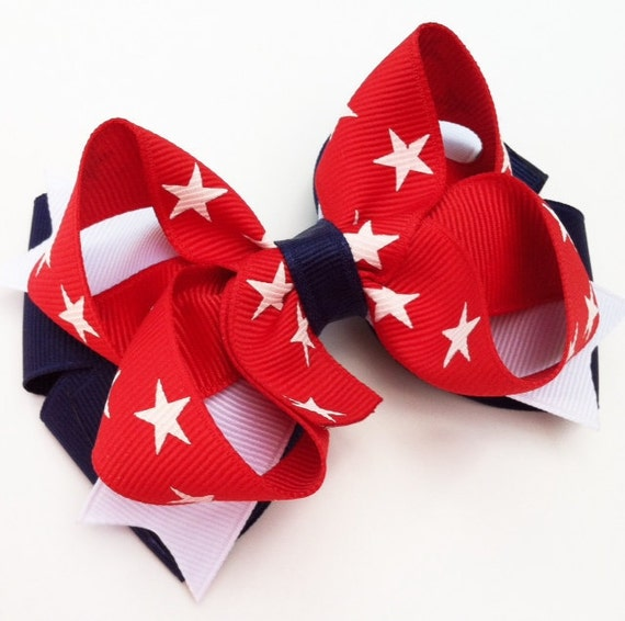 4th of July Hair Bow, Red White and Blue Layered Hair Bow, Star Hair Bow, July 4th Hair Bow, Red and Navy Hair Bow, Patriotic Hair Bow