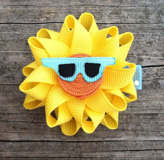 Sun Ribbon Sculpture Hair Clip - Toddler Hair Clips - Girls Hair Accessories... Free Shipping Promo