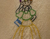 Pretty Senorita  Hand Embroidered Dish Towel