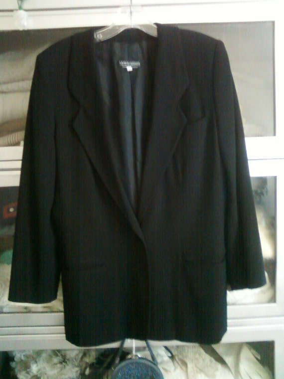 Giorgio Armani Made in Italy Classic Black Blazer 42 Single Breasted