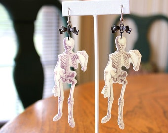 Skull Earrings Skeleton Earrings Goth Earrings Kawaii Earrings Laser Cut Earrings Perspex Earrings Macabre Earrings Long Earrings Zombie