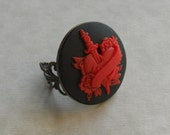 Red Heart Tattoo Adjustable Ring