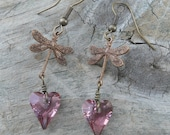 Dragonfly Earrings with Antique Pink Crystal Hearts