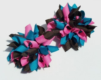 Mini Korker Hair Bows In Shades Of Pink, Brown And Turquoise