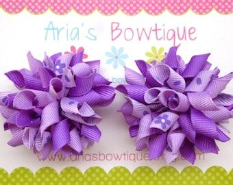 Lavender Flowers Mini Korker Hair Bows