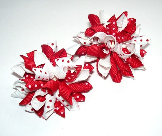 Red And White Dots Mini Korker Hair Bows