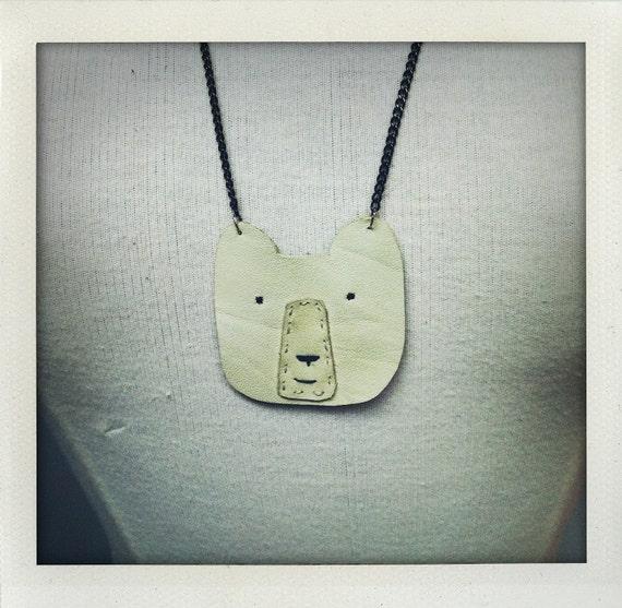 Hand Made Leather Polar Bear Necklace