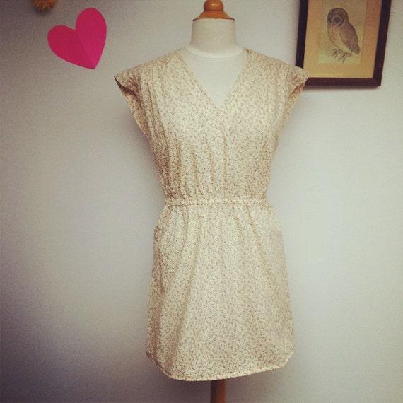 Vintage Floral Mini Day Dress M/L