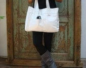 Handmade White Leather Bag, Upcycled, Recycled, Tote, Summer, Vintage Leather, White, Black, Womens, Eco-Fashion, Eco-Friendly, Handbags by VintageChase on Etsy, FREE U.S. SHIPPING