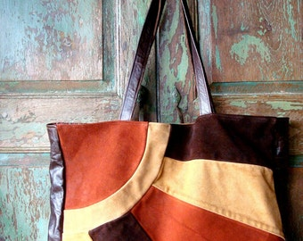 Upcycled Brown Suede Tote with Rust and Camel Highlights...Sunrise and Sunset Design  Holiday Sale