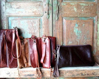 Handmade Leather Clutch with detachable Wristlet,  Custom designed by You