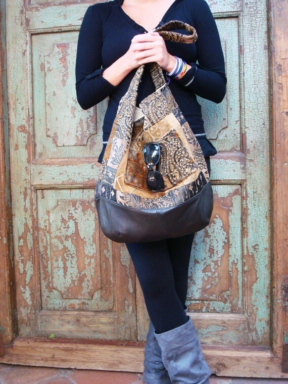 Handmade Black Leather Bag, Upcycled, Recycled, Hobo, Fabric, Gold, Travel, Week-end, by Vintage Chase on Etsy FREE US SHIPPING