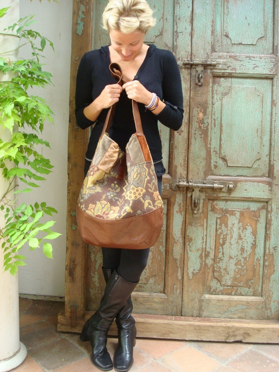 Handmade Brown Leather Bag, Upcycled, Recycled, Fabric, Hobo,Womens, Travel, Week-End, Handbags by VintageChase on Etsy,FREE U.S. SHIPPING
