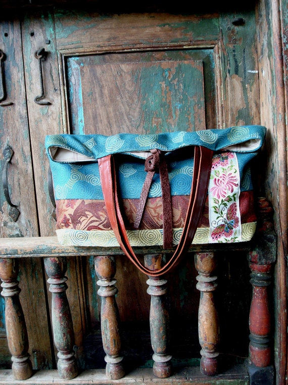 Handmade Leather and Floral Fabric Tote or Purse with Vintage Embroidered Trim