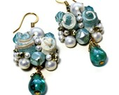 Repurposed Teal Wedding Earrings, Pearl Cluster, Upcycled, Bridal Jewelry