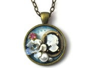 Unique Cameo Pendant, Upcycled Vintage Jewelry
