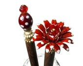 Hairsticks, Red Flower Hair Accessories